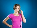 Call center woman beautiful young is ready for business support Royalty Free Stock Photo
