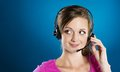 Call center woman beautiful young is ready for business support Royalty Free Stock Image