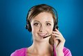 Call center woman beautiful young is ready for business support Stock Photos