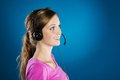 Call center woman beautiful young is ready for business support Stock Photo