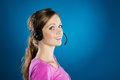 Call center woman beautiful young is ready for business support Royalty Free Stock Photos