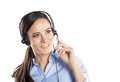 Call center woman beautiful young ready for support and contact Royalty Free Stock Photos
