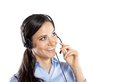 Call center woman beautiful young ready for support and contact Stock Images