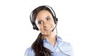 Call center woman beautiful young ready for support and contact Royalty Free Stock Photo