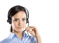 Call center woman beautiful young ready for support and contact Stock Photos
