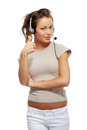 Call center woman with headset. Stock Photo