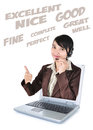 Call center woman with headset showing thumbs up with laptop isolated on white background Stock Photos