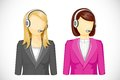 Call center woman vector illustration of icon Royalty Free Stock Photography
