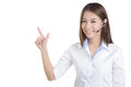 Call center woman wag in white shirt young isolated Stock Photography