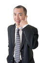 Call me gesture mature businessman give you a of closeup portrait on white background Stock Photo
