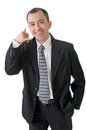 Call me gesture mature businessman give you a of closeup portrait on white background Royalty Free Stock Image