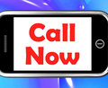 Call now on phone shows talk or chat showing Stock Photos