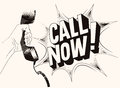 Call now typographic retro grunge poster hand holds a telephone receiver vector illustration Royalty Free Stock Photo