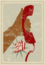 Call now typographic retro grunge poster hand holds a telephone receiver vector illustration Stock Images