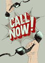 Call Now! Typographic retro grunge poster. Hands holds a telephone receivers. Vector illustration. Royalty Free Stock Photo