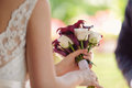 Calla und rose wedding bouquet Stockbild