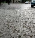 Calle en día lluvioso Foto de archivo libre de regalías