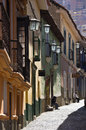 Calle jaen la paz bolivia the old cobbled street of in the colonial area of in south america Royalty Free Stock Image