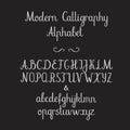 Calligraphic alphabet. Handwritten brush font. Uppercase, lowercase, ampersand. Wedding calligraphy Royalty Free Stock Photo
