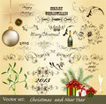 Calligraphic Christmas design elements Stock Images