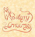 Calligraphic christmas lettering with horse illustration Stock Photography
