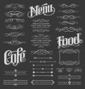 Calligraphic and Decorative Chalkboard Design Elements for Menus Royalty Free Stock Photo
