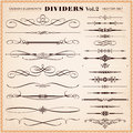 Calligraphic design elements dividers and dashes set of vector vintage page decoration Royalty Free Stock Image