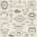 Calligraphic design elements and page decoration vector set vintage frame collection Stock Photography
