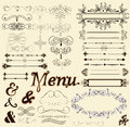 Calligraphic design elements and page decorations in retro style Stock Photo
