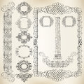Calligraphic design elements vector set of borders and ribbons Stock Images