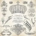 Calligraphic design elements vector set of and page decoration Royalty Free Stock Photos