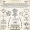 Calligraphic design elements vector set of and page decoration Royalty Free Stock Photo