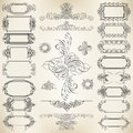 Calligraphic design elements vector set of and ribbons Stock Image
