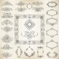 Calligraphic design elements vector set of ribbons and borders Royalty Free Stock Photo