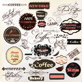 Calligraphic design elements and vintage labels for cafe design vector set of coffee house Royalty Free Stock Photography