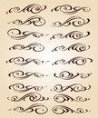 Calligraphic elegant elements of design.Vector illustration.Brown  beige.
