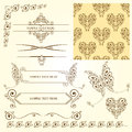 Calligraphic elements and page decorations Stock Images