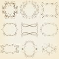 Calligraphic and floral frames set vector illustration eps Stock Photography
