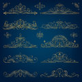 Calligraphic Golden Frames Royalty Free Stock Photo