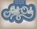 Calligraphic handwritten label vacation package adult only vintage style Stock Photo