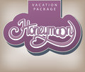 Calligraphic handwritten label vacation package honeymoon vintage style Stock Photo