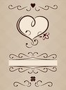 Calligraphic heart romantic decoration text box and dividers Royalty Free Stock Photos