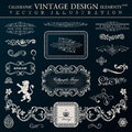 Calligraphic heraldic decor elements. Vector vintage frameworks