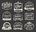 Calligraphic sign and label design set vintage retro labels for signs menus bakery patisserie cakes Stock Photography