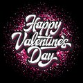 Calligraphic stylish vector inscription Happy Valentines Day with hearts on a colored background Royalty Free Stock Photo