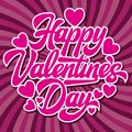 Calligraphic stylish vector inscription Happy Valentines Day with hearts on a colored pink background Royalty Free Stock Photo