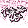 Calligraphic stylish vector inscription Valentines Day with hearts on background Royalty Free Stock Photo
