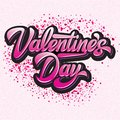 Calligraphic stylish vector inscription Valentines Day with hearts on a colored pink background Royalty Free Stock Photo