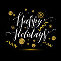 Calligraphic text happy holidays with snowflakes and red bow. Ha