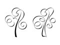 Calligraphic trees design elements in vector Stock Photo